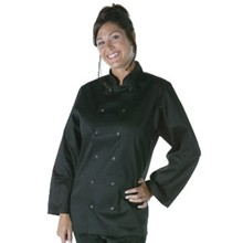 Unisex Vegas Chefs Jacket - Long Sleeve Black Polycotton. Size: XS (To fit chest